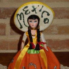 Muñecas Celuloide: ANTIGUA MUÑECA PORCELANA Y CELULOIDE RECUERDO DE MEXICO. Lote 38982937