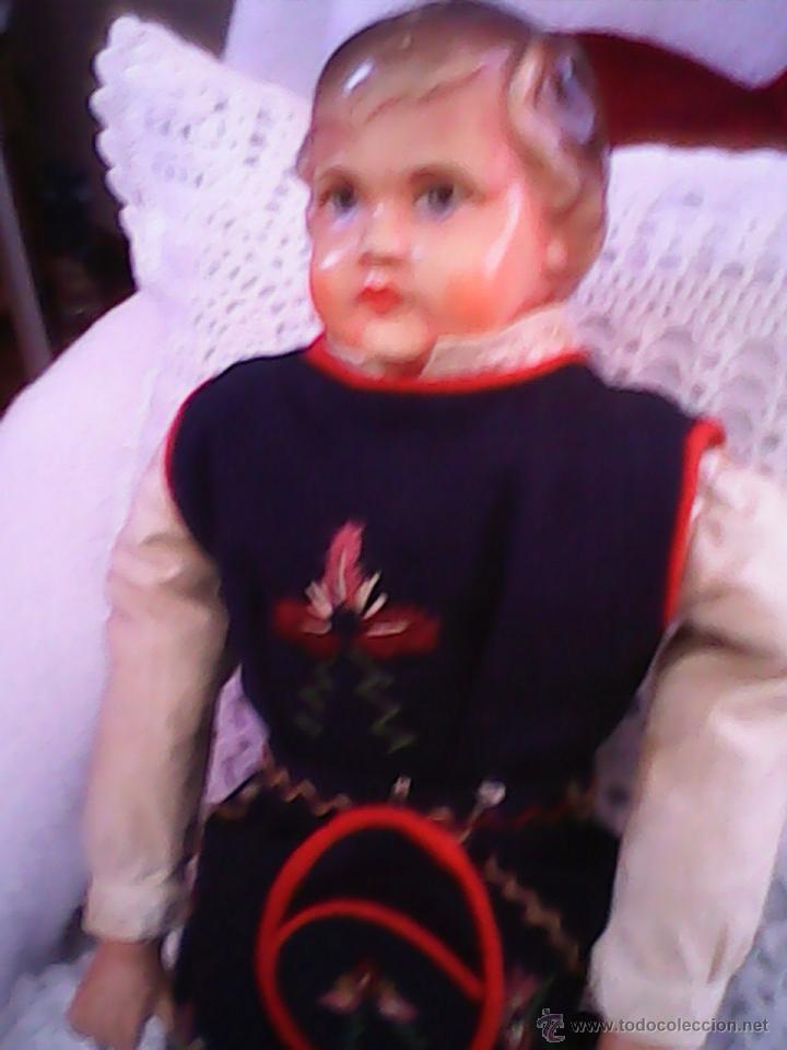 Muñecas Celuloide: ANTIGUA MUÑECA HECHA DE SERRÍN EL BUSTO Y LAS MANOS DE celuloide ,AÑOS 40 - Foto 2 - 40455251