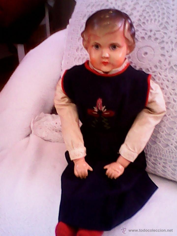 Muñecas Celuloide: ANTIGUA MUÑECA HECHA DE SERRÍN EL BUSTO Y LAS MANOS DE celuloide ,AÑOS 40 - Foto 3 - 40455251