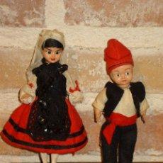 Muñecas Celuloide: ANTIGUO PAREJA DE MUÑECOS DE CELULOIDE TRAJE REGIONAL.ASTURIANOS O GALLEGOS. Lote 41462405