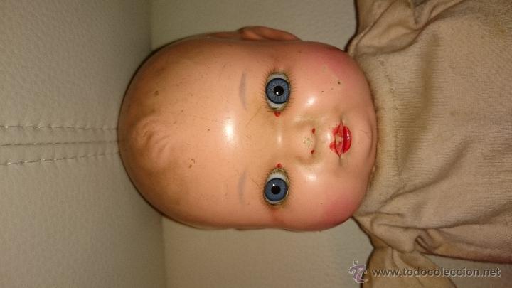 Muñecas Celuloide: Muñeca bebe celuloide de 36 cm ojos de cristal cuerpo de trapo - Foto 2 - 47718079