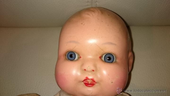 Muñecas Celuloide: Muñeca bebe celuloide de 36 cm ojos de cristal cuerpo de trapo - Foto 3 - 47718079