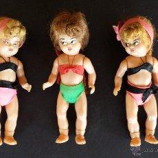 Muñecas Celuloide: 3 PEQUEÑAS MUÑECAS DE CELULOIDE, AÑOS 60.. Lote 48585207