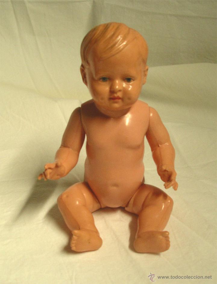Muñecas Celuloide: Bebé celuloide marca Tortuga Schildkröt-Puppen Alemania, años 30 . Med. 17 cm - Foto 2 - 48889008