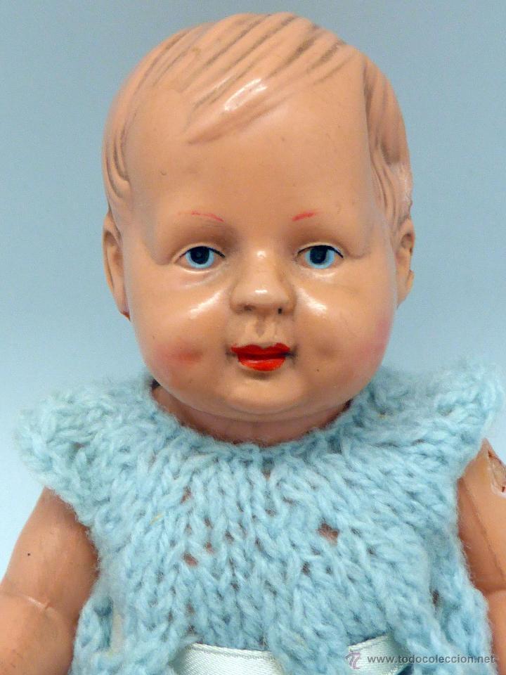Muñecas Celuloide: Muñeco bebé celuloide La Tortuga Schildkrot Puppe Germany marca espalda 16 1/2 años 30 traje lana - Foto 2 - 50929807
