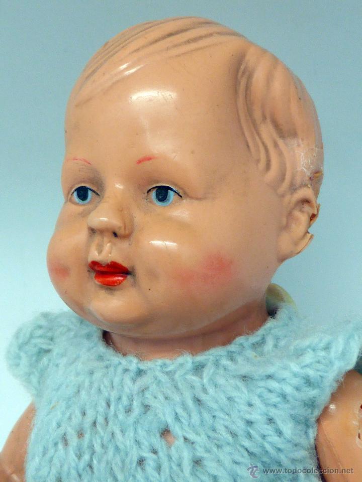 Muñecas Celuloide: Muñeco bebé celuloide La Tortuga Schildkrot Puppe Germany marca espalda 16 1/2 años 30 traje lana - Foto 3 - 50929807