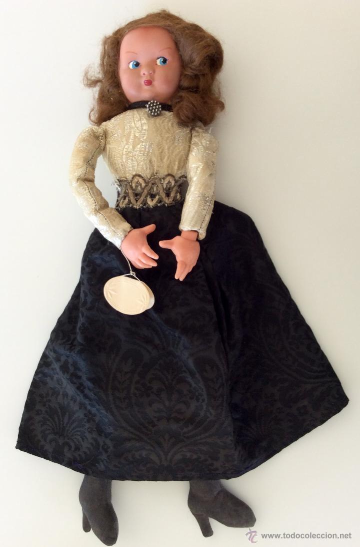 Muñecas Celuloide: Muñeca trapo hecha a mano con cara de celuloide y manos de plástico. Pelo de mohair y ojos googli. - Foto 2 - 77905998