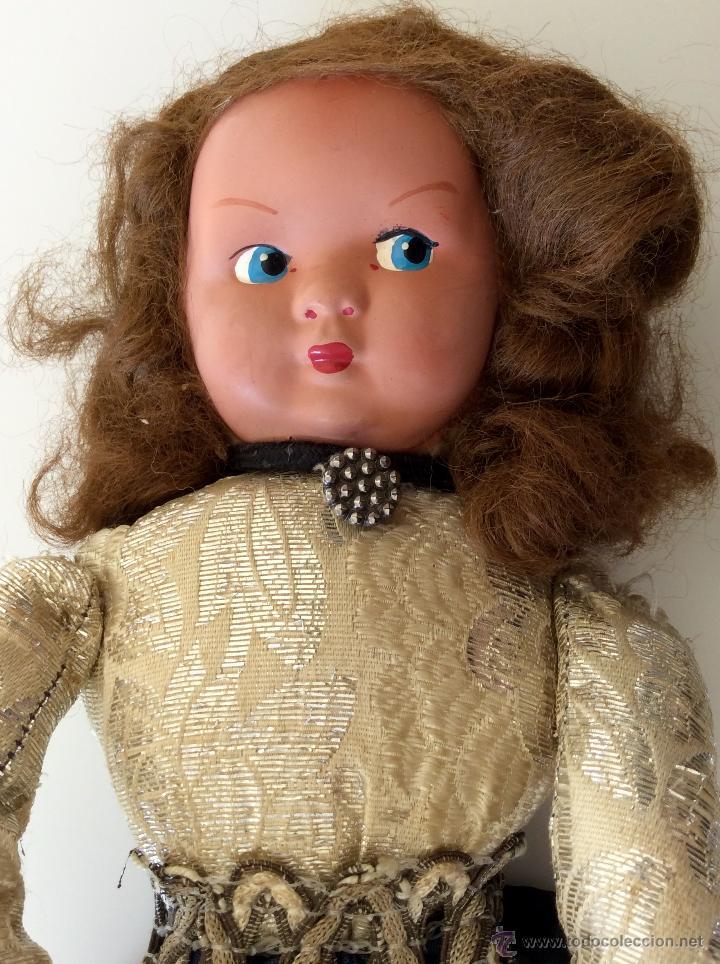 Muñecas Celuloide: Muñeca trapo hecha a mano con cara de celuloide y manos de plástico. Pelo de mohair y ojos googli. - Foto 3 - 77905998