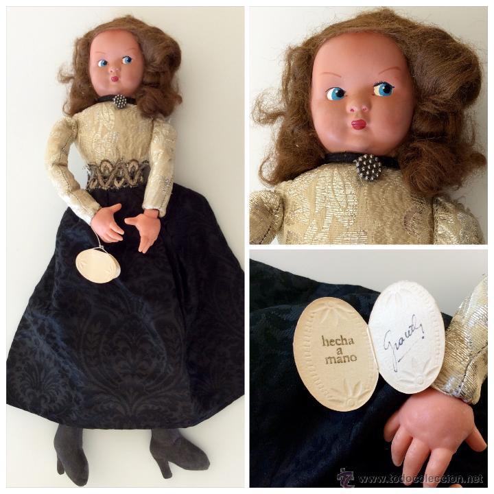 Muñecas Celuloide: Muñeca trapo hecha a mano con cara de celuloide y manos de plástico. Pelo de mohair y ojos googli. - Foto 7 - 77905998