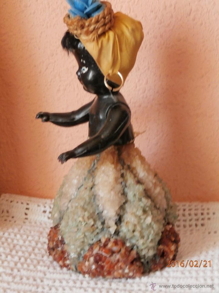Muñecas Celuloide: ANTIGUA MUÑECA NEGRITA de CELULOIDE con FALDA DE CRISTAL Y CUARZOS - Foto 5 - 54622364