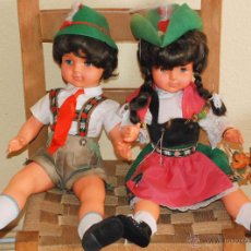 Muñecas Celuloide: PAREJA MUÑECOS CELULOIDE TIROLES HANS VOLK ALEMANIA 60CM AÑOS 40. Lote 54631790