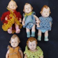 Muñecas Celuloide: CINCO MUÑECOS ANTÍGUOS Y RAROS EN CELULOIDE, CA. 1950. Lote 81981944