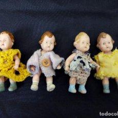 Muñecas Celuloide: CUATRO MUÑECOS ANTÍGUOS Y RAROS EN CELULOIDE, CA. 1950. Lote 81982124
