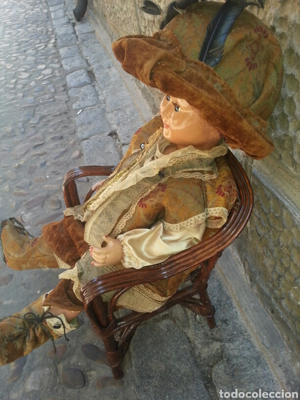 Muñecas Celuloide: Muñeca de celuloide con sillon de mimbre - Foto 5 - 89175852