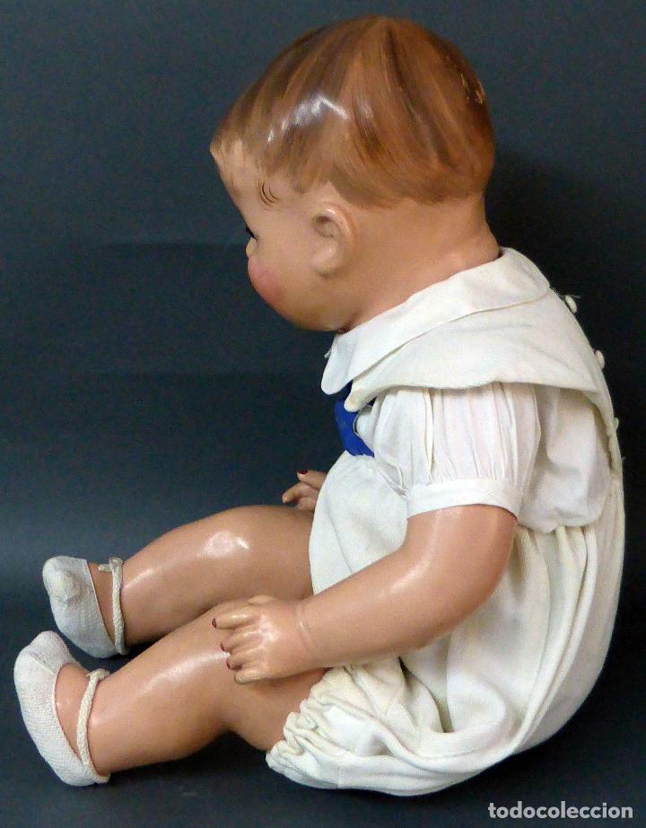 Muñecas Celuloide: Bebé celuloide con cuerpo trapo ojos fijos tamaño grande ropa original años 30 61 cm alto - Foto 5 - 89748032