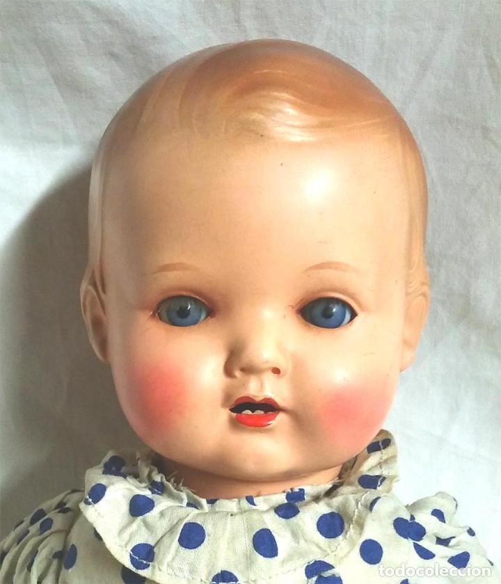 Muñecas Celuloide: Muñeco Bebé celuloide Tortuga 42, llora, ojos durmientes, años 50. Med. 39 cm - Foto 2 - 107002727