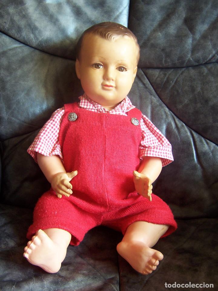 Muñecas Celuloide: Muñeco de celuloide francés de los años 50, con marca en la nuca ojos fijos, pierna encogida. D:46cm - Foto 2 - 116906043