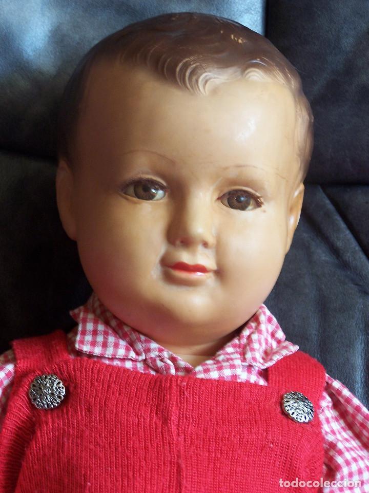 Muñecas Celuloide: Muñeco de celuloide francés de los años 50, con marca en la nuca ojos fijos, pierna encogida. D:46cm - Foto 3 - 116906043