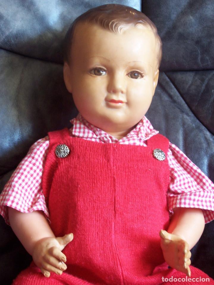 Muñecas Celuloide: Muñeco de celuloide francés de los años 50, con marca en la nuca ojos fijos, pierna encogida. D:46cm - Foto 4 - 116906043