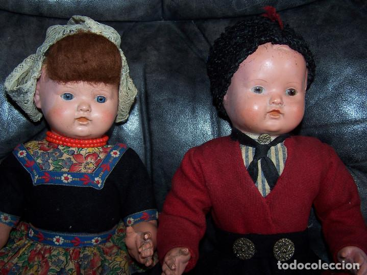 Muñecas Celuloide: Pareja de muñecos de celuloide de la marca alemana tortuga, con la numeración 109/35. Prinipios S:XX - Foto 2 - 122190043