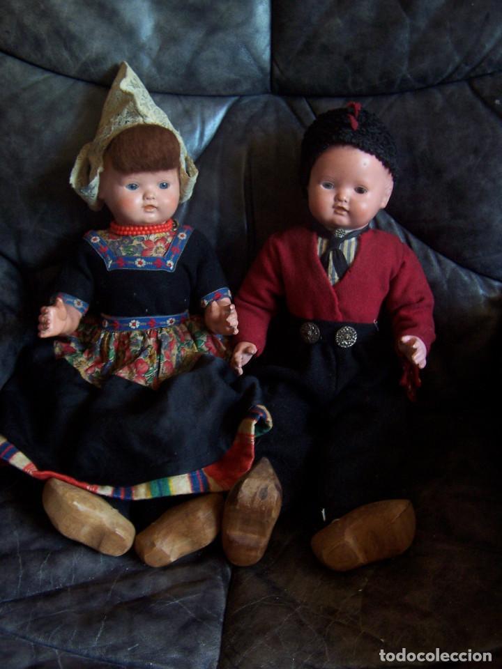Muñecas Celuloide: Pareja de muñecos de celuloide de la marca alemana tortuga, con la numeración 109/35. Prinipios S:XX - Foto 3 - 122190043