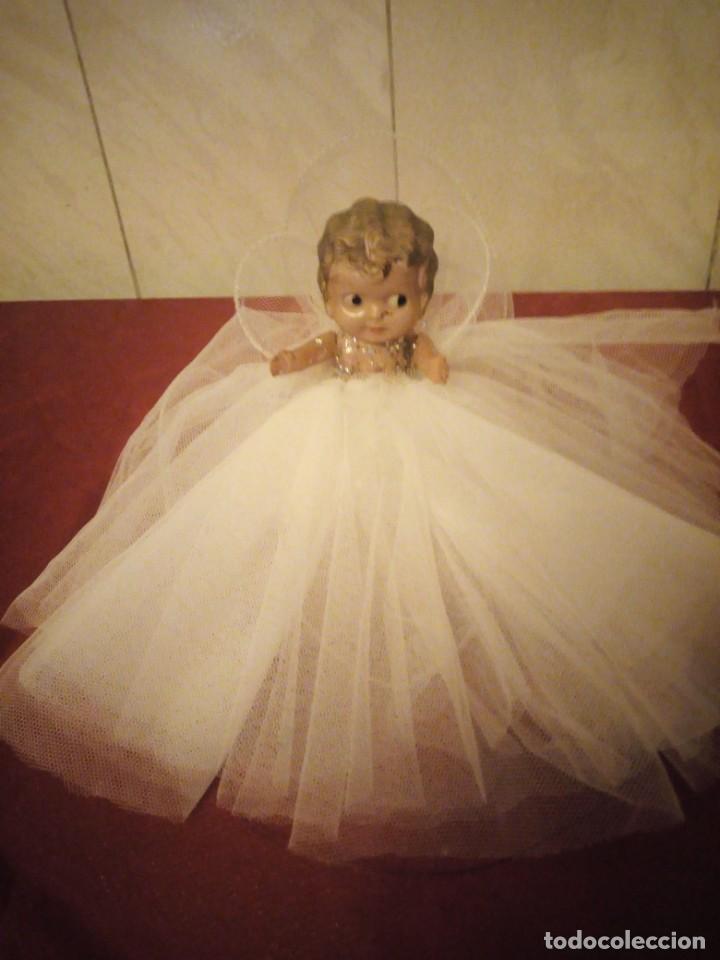 Muñecas Celuloide: Antigua muñeca de celuloide vestida de hada ideal decoración navideña - Foto 2 - 186168096
