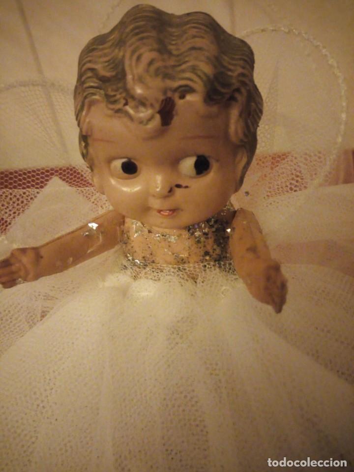 Muñecas Celuloide: Antigua muñeca de celuloide vestida de hada ideal decoración navideña - Foto 3 - 186168096