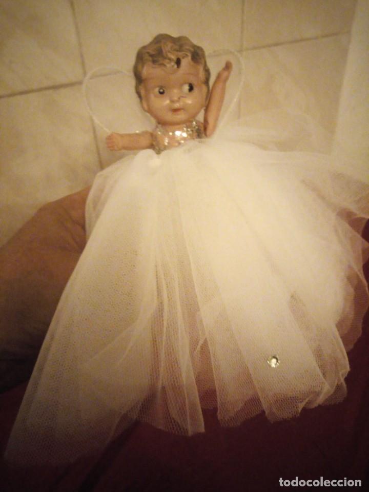 Muñecas Celuloide: Antigua muñeca de celuloide vestida de hada ideal decoración navideña - Foto 8 - 186168096