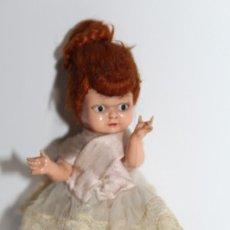 Muñecas Celuloide: ANTIGUA MUÑECA CELULOIDE CARITA DECORADA Y PELO MOHAIR - NO ESTA MARCADA. Lote 192372222
