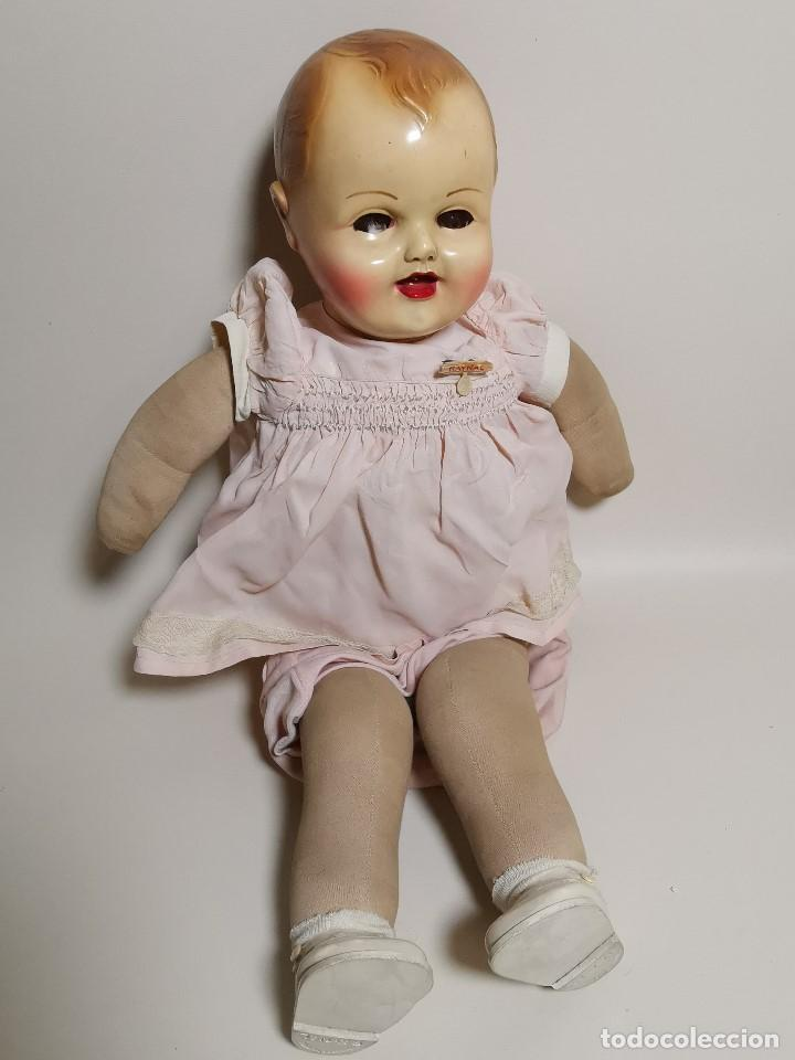 Muñecas Celuloide: Bebé Raynal celuloide cuerpo trapo..43 cm ojos oscilantes-francia años 40 - Foto 3 - 193740175