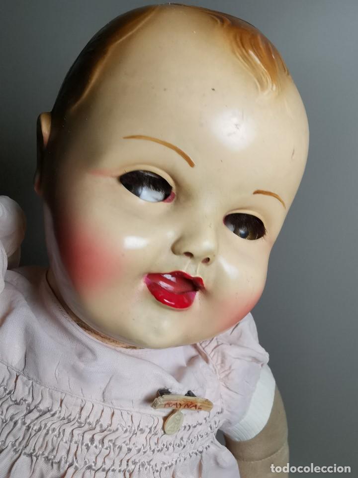 Muñecas Celuloide: Bebé Raynal celuloide cuerpo trapo..43 cm ojos oscilantes-francia años 40 - Foto 4 - 193740175
