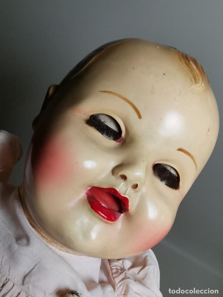 Muñecas Celuloide: Bebé Raynal celuloide cuerpo trapo..43 cm ojos oscilantes-francia años 40 - Foto 27 - 193740175
