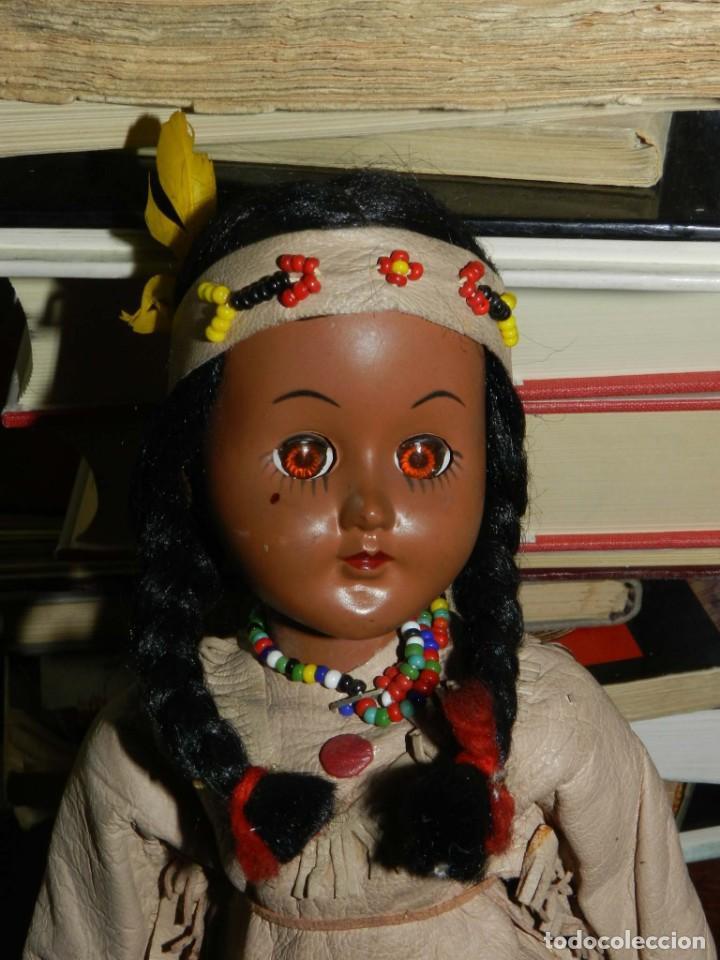 Muñecas Celuloide: ANTIGUA MUÑECA INDIA CON TRAJE SIMIL CUERO, TIPO GEYPERMAN, REALIZADA EN CELULOIDE, GRAN CALIDAD, OJ - Foto 2 - 209654636