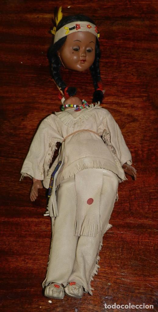 Muñecas Celuloide: ANTIGUA MUÑECA INDIA CON TRAJE SIMIL CUERO, TIPO GEYPERMAN, REALIZADA EN CELULOIDE, GRAN CALIDAD, OJ - Foto 5 - 209654636