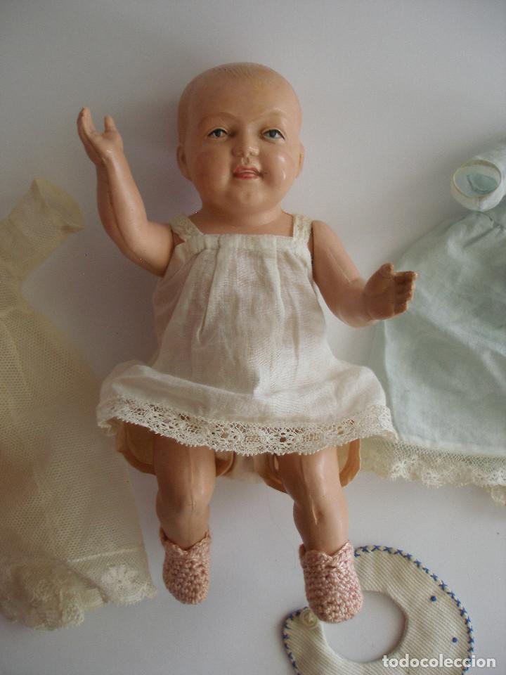 Muñecas Celuloide: Antiguo muñeco bebé celuloide fino cáscara de huevo ropa original Deposé Francia años 20 - Foto 14 - 217536478