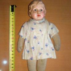 Muñecas Celuloide: MUÑECO DE TRAPO Y CELULOIDE. ALEMÁN, MARCA DE LA TORTUGA. Lote 221459733