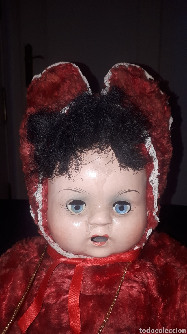 Muñecas Celuloide: Curioso peluche con cabeza y manos humanas de celuloide ojos batientes sin marca leer descripción - Foto 2 - 222810337