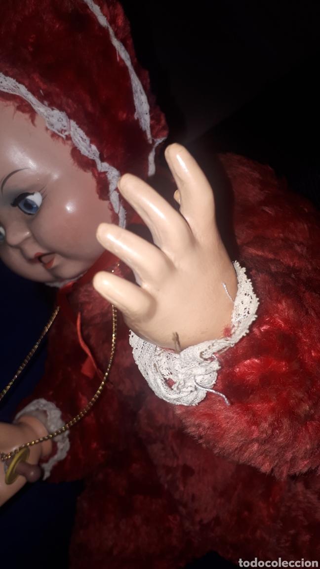 Muñecas Celuloide: Curioso peluche con cabeza y manos humanas de celuloide ojos batientes sin marca leer descripción - Foto 4 - 222810337