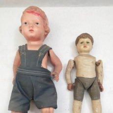 Muñecas Celuloide: 2 MUÑECAS DE CELULOIDE. DIFERENTES TAMAÑOS. DIFERENTES MARCAS. Lote 240190700
