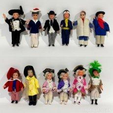 Muñecas Celuloide: 12 ANTIGUOS MUÑECOS DE CELULOIDE ÉPOCA, PROFESIONES Y OTROS. Lote 254873590