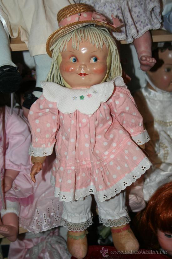 Muñecas Composición: antigua muñeca de composicion o celuloide y trapo se vende sin el sombrero - Foto 2 - 26578433