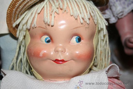 Muñecas Composición: antigua muñeca de composicion o celuloide y trapo se vende sin el sombrero - Foto 3 - 26578433