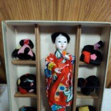 Muñecas Composición: MUÑECA JAPONESA DE COMPASICION CON 6 PELUCAS. Lote 44387320