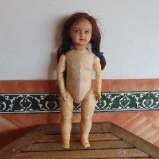 Muñecas Composición: ANTIGUA MUÑECA EN CARTON PIEDRA COMPOSICION Y MADERA PARA RESTAURAR MARCADA PARIS Y INICIALES. Lote 52482749