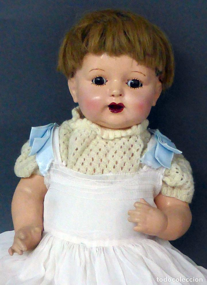 Muñecas Composición: Bebé alemán composición marca nuca Made in Germany ojo fijo años 20 34 cm - Foto 2 - 98136503