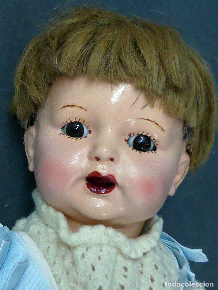 Muñecas Composición: Bebé alemán composición marca nuca Made in Germany ojo fijo años 20 34 cm - Foto 3 - 98136503