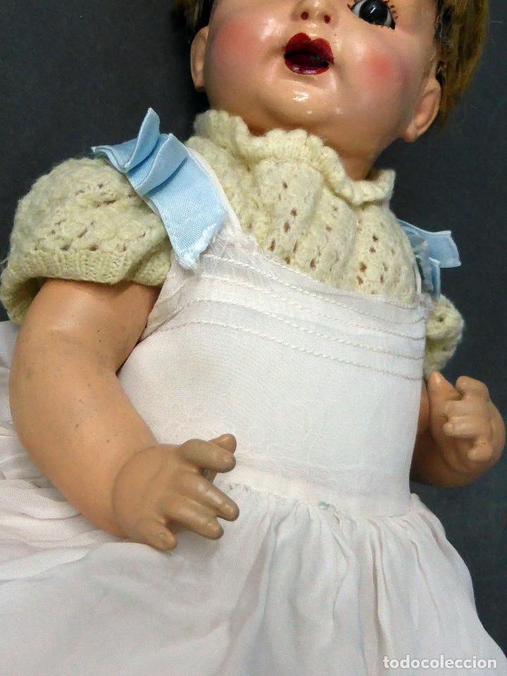 Muñecas Composición: Bebé alemán composición marca nuca Made in Germany ojo fijo años 20 34 cm - Foto 4 - 98136503