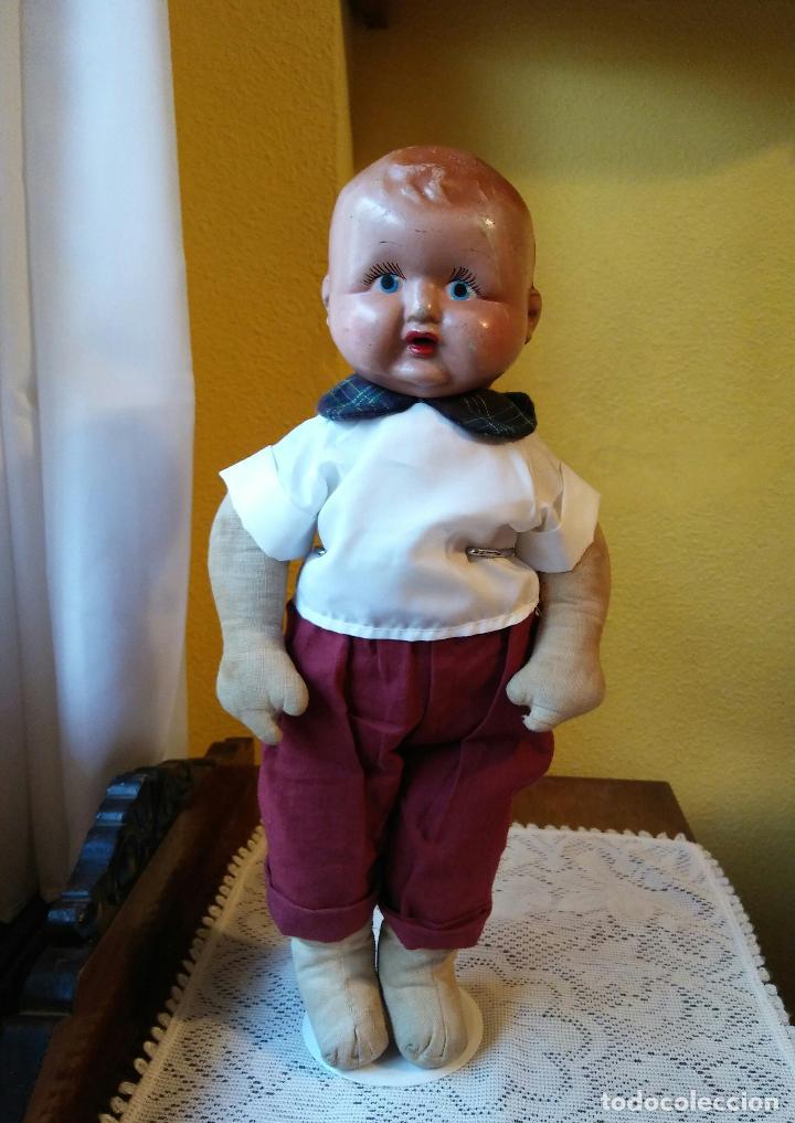 Muñecas Composición: Antigua muñeca de composición y tela. 40 cmtrs. - Foto 4 - 107105351