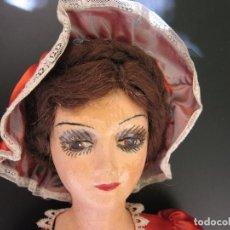 Muñecas Composición: ORIGINAL ANTIGUA MUÑECA DE COMPOSICION DE SALON BOUDOIR / ANTIQUE FRENCH BOUDOIR BED DOLL. Lote 135373450