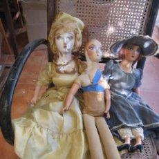 Muñecas Composición: LOTE DE 3 MUÑECAS ANTIGUAS BOUDOIR O MUÑECAS DE SALON DE COMPOSICION PARA REPARAR LEER. Lote 143022518
